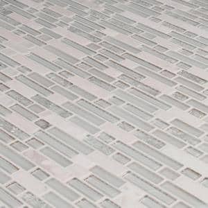 Delano Blanco 12 in. x 12 in. x 6 mm Glass/Stone Mesh-Mounted Mosaic Tile (1 sq. ft.)