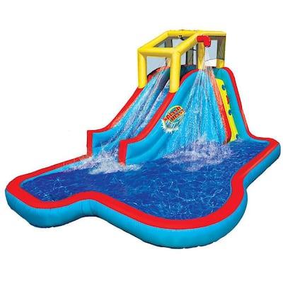 Slide and Soak Splash Park Inflatable Outdoor Kids Water Park Play Center