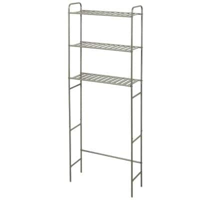 22.8 in. W Over-the-Toilet Bathroom Space Saver in Satin Nickel with Slatted Shelves