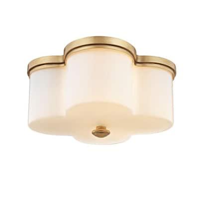 Clover 2-Light Aged Brass with Opal Glass Flush Mount