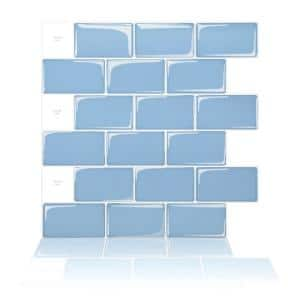 Smart Light Blue 12 in. x 12 in. Subway Vinyl Wall Tile and Peel and Stick Backsplash (10-Pack)