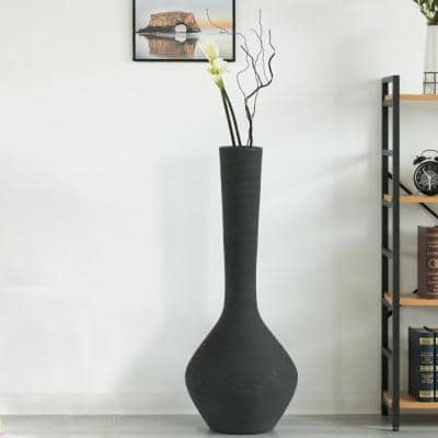38 in. Tall Charcoal Gray Modern Trumpet Style Floor Vase For Entryway or Living Room Bamboo Rope