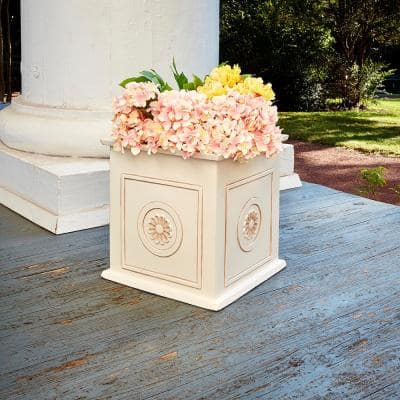 Colony 16 in. x 16 in. Ivory Resin Composite Square Planter Box