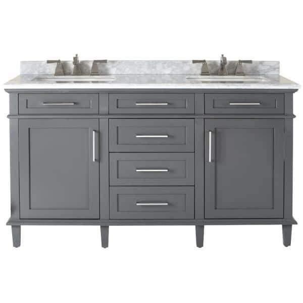 Home Decorators Collection Sonoma 60 In W X 22 In D Double Bath Vanity In Dark Charcoal With Carrara Marble Top With White Sinks 8105300270 The Home Depot