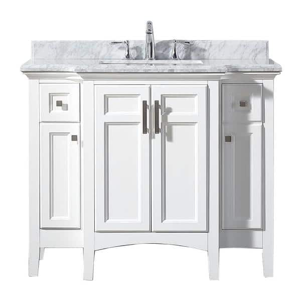 Home Decorators Collection Sassy 42 In W X 22 In D Vanity In White With Marble Vanity Top In White With White Sink Sassy 42 The Home Depot