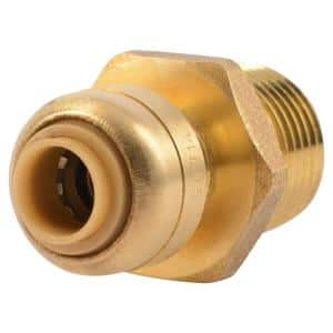 1/4 in. (3/8 in. O.D.) x 1/2 in. Brass Push-to-Connect MIP Adapter Fitting