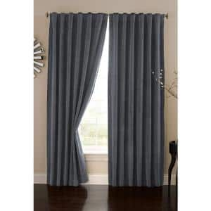 Stone Blue Faux Velvet Thermal Blackout Curtain - 50 in. W x 84 in. L