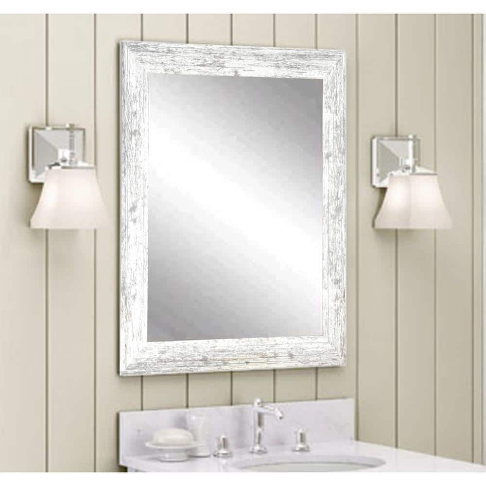 Brandtworks Distressed 22 In W X 32 In H Framed Rectangular Bathroom Vanity Mirror In Distressed White Bm032s The Home Depot
