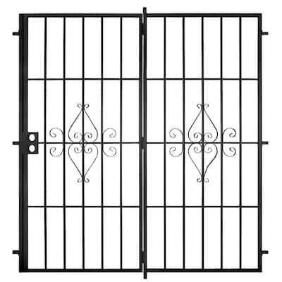 Su Casa 72 in. x 80 in. Black Projection Mount Outswing Steel Patio Security Door with No Screen