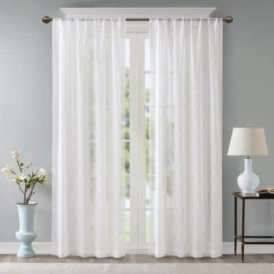 White Abstract Embroidered Rod Pocket Sheer Curtain - 50 in. W x 84 in. L