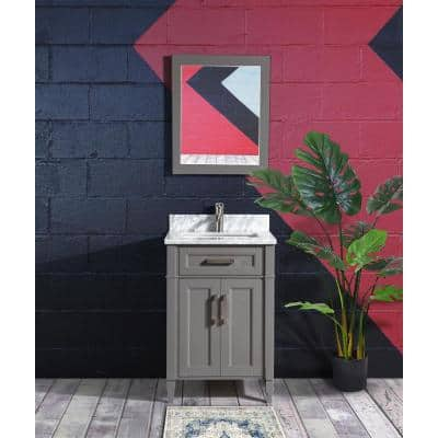Savona 24 in. W x 22 in. D x 36 in. H Bath Vanity in Grey with Vanity Top in White with White Basin and Mirror