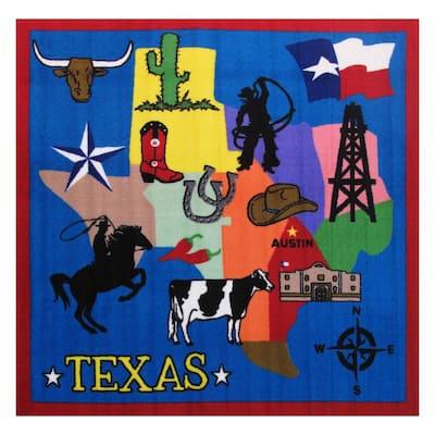 Fun Time Texas Multi Colored 4 ft. x 4 ft. Area Rug