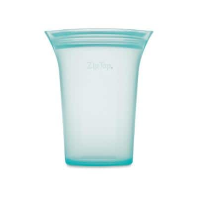 Reusable Silicone 24 oz. Large Cup Zippered Storage Container, Teal