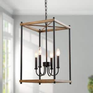 Eniso 4-Light Black Modern Farmhouse Island Chandelier Adjustable Open-Cage Metal Stairway Pendant with Pine Accent