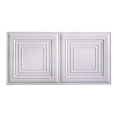 Traditional #3 2 ft. x 4 ft. Glue Up Vinyl Ceiling Tile in Matte White (40 sq. ft.)