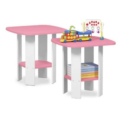 Simple Design 19.6 in. Pink End Table (2-Set)