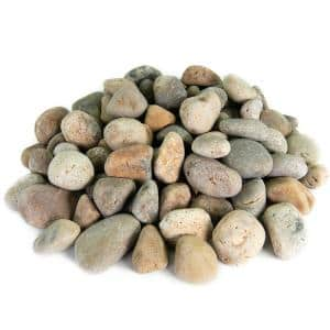 0.50 cu. ft. 2 in. to 3 in. Buff Mexican Beach Pebble Smooth Round Rock for Gardens, Landscapes and Ponds