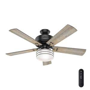 Cedar Key 52 in. Indoor/Outdoor Matte Black Ceiling Fan with Light Kit and Handheld Remote Control