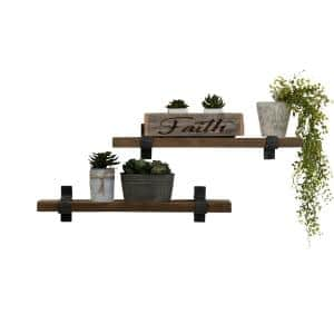 Industrial Grace 6 in. x 36 in. x 6 in. Walnut Pine Wood Floating Decorative Wall Shelves with Wrap Brackets (Set of 2)