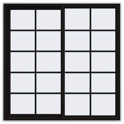 60 in. x 60 in. V-4500 Series Black FiniShield Vinyl Left-Handed Sliding Window with Colonial Grids/Grilles