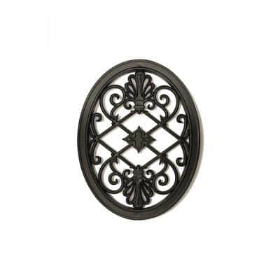 17 in. x 13 in. Oval Wrought Iron Insert for Wooden Gate