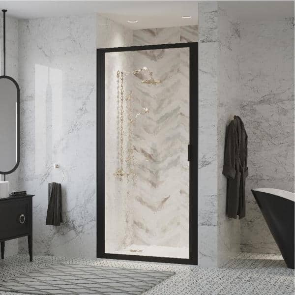 Coastal Shower Doors Paragon 23 In To 23 75 In X 66 In Framed Continuous Hinged Shower Door In Matte Black With Aquatex Glass P23 66o A The Home Depot