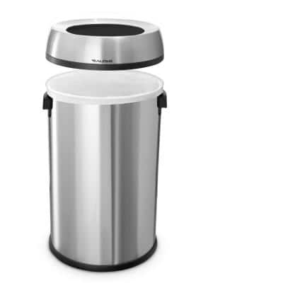 17 Gal. Stainless Steel Heavy-Gauge Brushed Open Top Commercial Trash Can