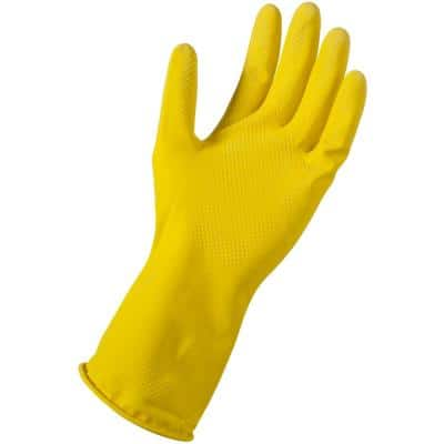 Small/Medium Yellow Latex Reusable Gloves (72-Pair)