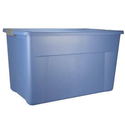 35 Gal. Storage Bin Box with Latching Lid Blue (24-Pack)