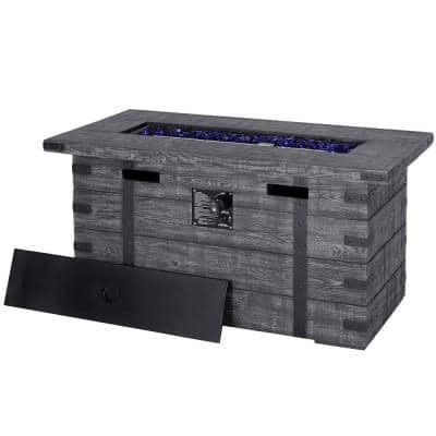 46 in. W x 22 in. D x 24 in. H Outdoor Rectangular Propane Fire Pit with Lid, Grey