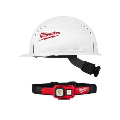 450 Lumens LED Spot/Flood Headlamp with BOLT white type 1 class C front brim vented hard hat