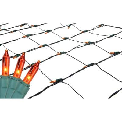 4 ft. x 6 ft. Orange Mini Net Style Christmas Lights with Green Wire