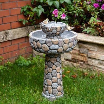 24.5 in. H Outdoor 2-Tierd Stone-Like Birdbath Floor Fountain