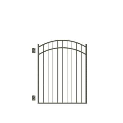 Natural Reflections Standard-Duty 4 ft. W x 4-1/2 ft. H Pewter Aluminum Arched Pre-Assembled Fence Gate