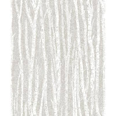 Flay Taupe Birch Tree Taupe Wallpaper Sample
