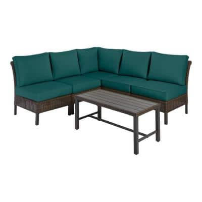 Harper Creek 6-Piece Brown Steel Outdoor Patio Sectional Sofa Seating Set with CushionGuard Malachite Green Cushions