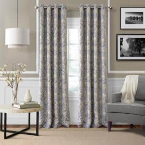 Blue Paisley Blackout Curtain - 52 in. W x 95 in. L