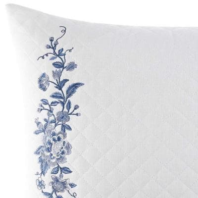 Charlotte China Blue Floral Cotton Blend 16 in. x 20 in. Throw Pillow