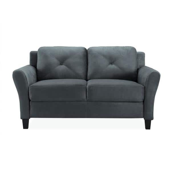 Lifestyle Solutions Harvard 56.3 in. Dark Grey Microfiber 2-Seater Loveseat with Round Arms