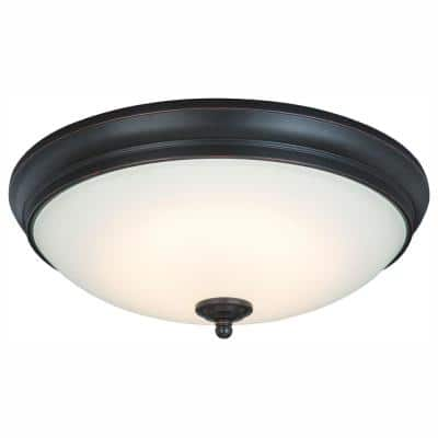 13 in. 60-Watt Equivalent Oil-Rubbed Bronze Integrated LED Flush Mount with White Glass Shade