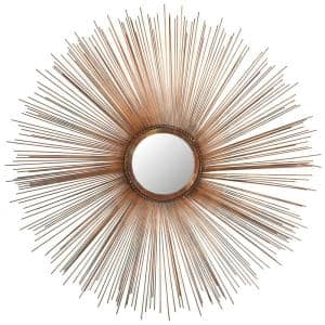 Sunburst Mirror 41 in. x 41 in. Iron, Glass and Wood Framed Mirror