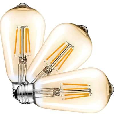 100-Watt Equivalent ST64 Handmade Dimmable LED Filament Light Bulb Clear 2700K Warm 1000 Lumen UL & ENERGY STAR (3-Pack)