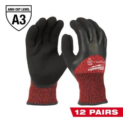 XX-Large Red Latex Level 3 Cut Resistant Insulated Winter Dipped Work Gloves (12-Pack)