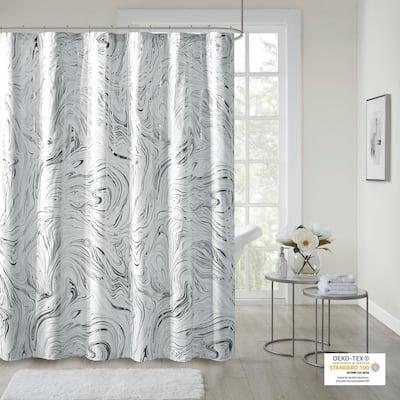 Natalia Grey/Silver 72in. Printed Marble Metallic Shower Curtain