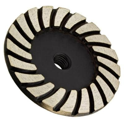 4 in. x 5/8 in.-11 Thread Fine Grit Turbo Diamond Grinding Wheel for Stone Grinding