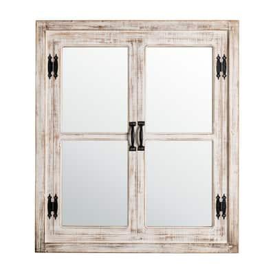 31.5 in. H x 27.5 in. W Oversized Farmhouse Wood Window Frame Wall Mirror