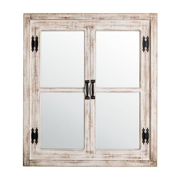 Glitzhome 31 5 In H X 27 W, Distressed White Wood Farmhouse Door Wall Mirror