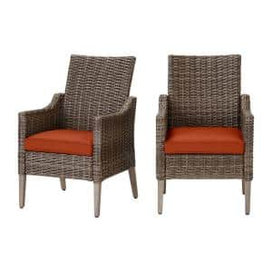 Rock Cliff Brown Wicker Outdoor Patio Stationary Dining Chair with CushionGuard Quarry Red Cushions (2-Pack)