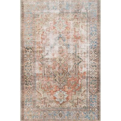 Loren Terracotta/Sky 8 ft. 4 in. x 11 ft. 6 in. Traditional Polyester Area Rug