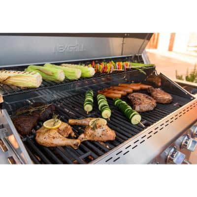 Deluxe 6-Burner Propane Gas Grill in Slate with Ceramic Searing Side Burner